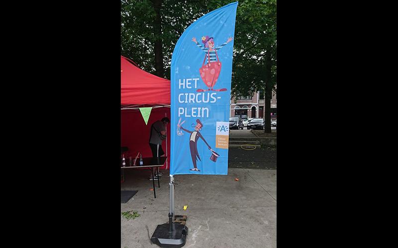 Vlag voor het circusplein van stad Antwerpen