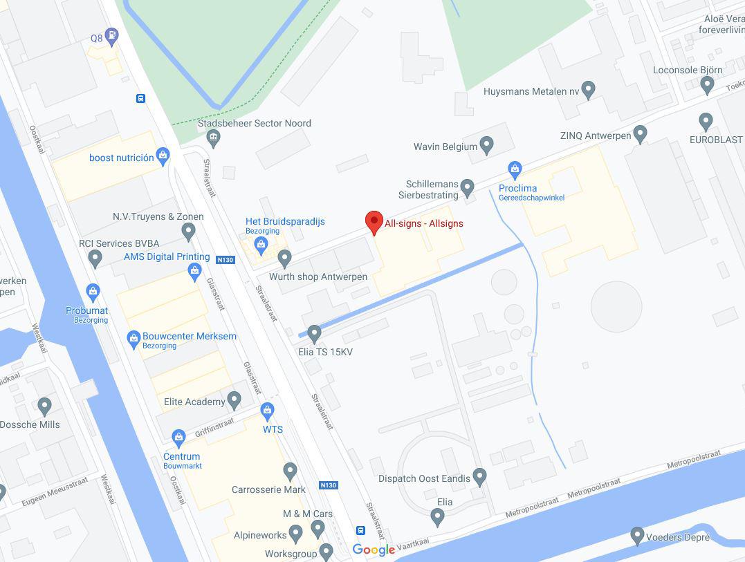 Dit is een afbeelding waar All Signs gelegen is op Google Maps.